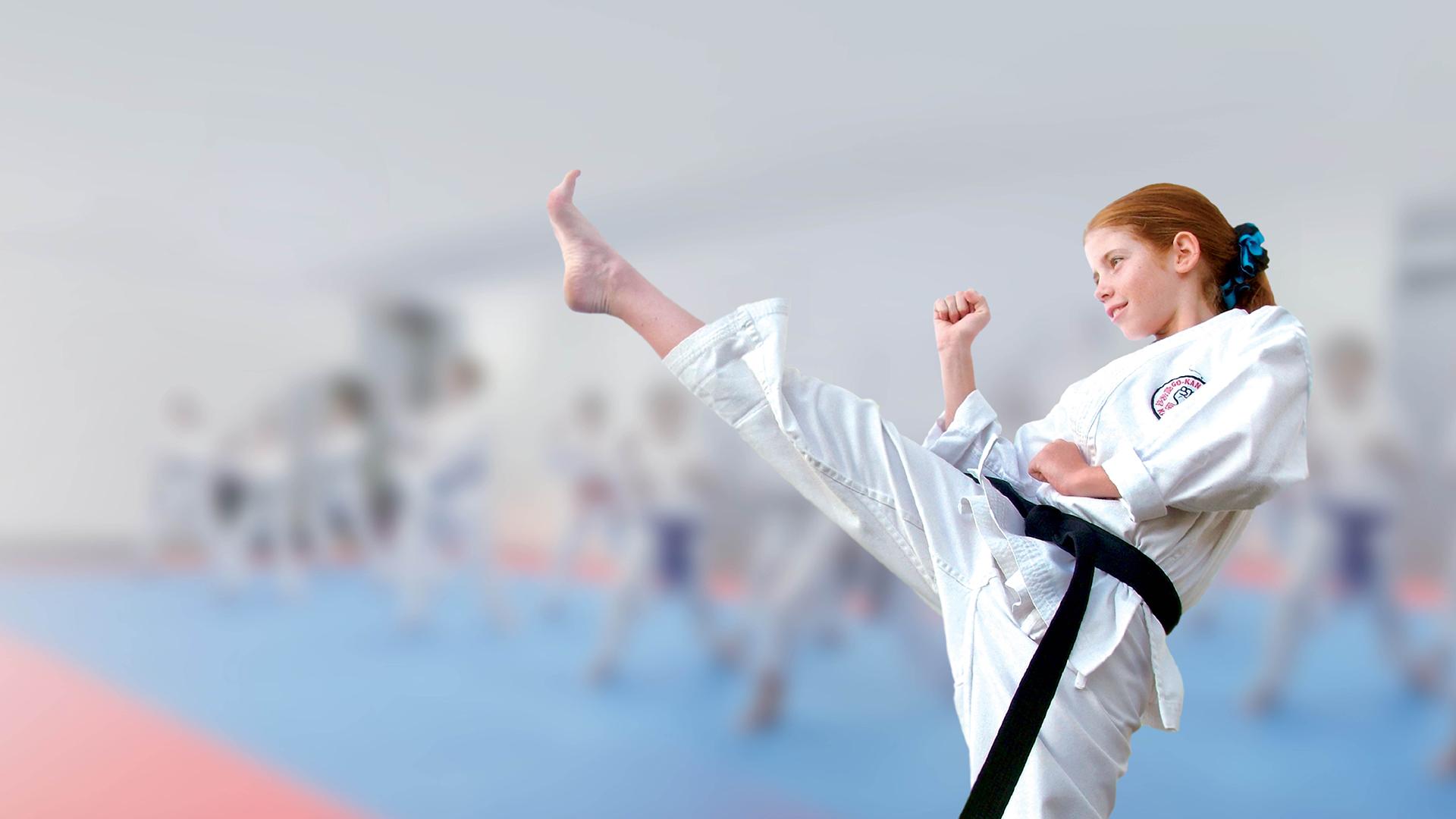 GKR Karate, girl kicking, high kick