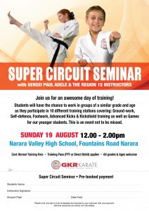Flyer for Super Circuit Seminar with Sensei Paul Adele on the Cold Coast on Sunday August 19