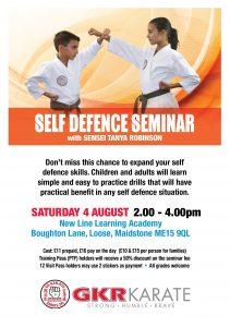 Flyer for Maidstone Self Defence Seminar on 04/08/18