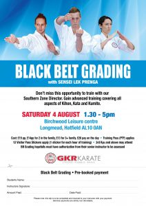 Flyer for Hatfield Black Belt Grading Saturday August 4th