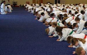 Students bowing in at a GKR Karate Class