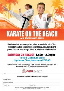 Flyer for Karate Beach Class in Hunstanton August 25th