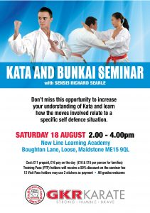 Flyer for Kata and Bunkai Seminar in Maidstone on 18th August 2018