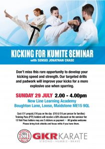 Flyer for Kicking for Kumite Seminar with Sensei Jonathan Chase on 29/7/18