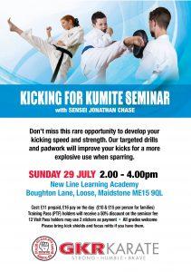 Flyer for Kicking for Kumite Seminar with Sensei Jonathan Chase on 29/7/18