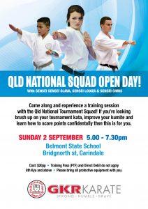 GKR Karate Queensland Squad Open Night Flyer