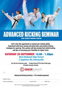 NSW Advanced Kicking Seminar Flyer 2018