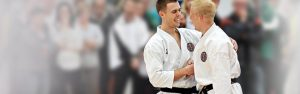 GKR Karate black belts shaking hands