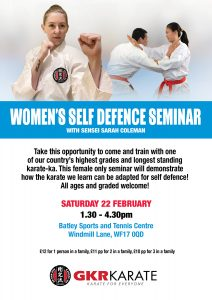 Women's Self Defence Seminar with Sensei Sarah Coleman