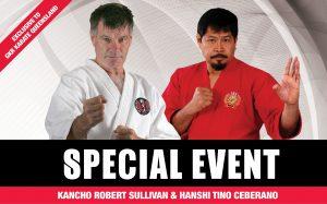 Kancho Robert Sullivan and Hanshi Tino Cebrano Qld Seminar Flyer